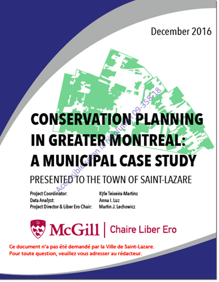 CONSERVATION PLANNING IN GREATER MONTREAL: